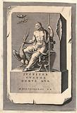 Jupiter represented as a majestic personage seated on a throne, holding in his hands a sceptre and a thunderbolt
