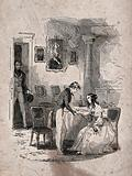 A young woman is seated at the table with a young man nearby holding her hand and gazing into her eyes