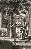 A woman (May) leads a man (January) under a tree in which there is somone hiding and some onlookers are pointing at …