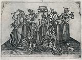 A group of women in a scuffle