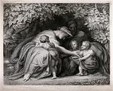 A family group in a leafy bower: the mother leaning forward to tend to two children, another child against her knees
