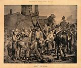 Groups of people surround a broken cart, two soldiers are nearby and one woman is attempting to stop a man from …