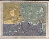 A map of London showing the river Thames and the major parks