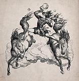 A man riding astride two galloping horses blows bubbles from a pipe