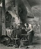 A blacksmith hammers at a piece of metal on his anvil as he makes suits of armour