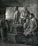 A family grouped around a blacksmith's anvil as he holds his tools in the fire