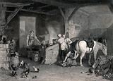 A blacksmith in his workshop with people looking on and a young boy shoeing a horse