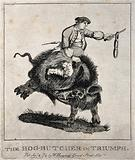A man swinging a string of sausages from a knife rides on the back of a large black boar