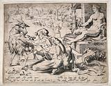A man is milking a goat, sowers are sowing seed, as a plowman tills the earth, a young man holds a sickle and a …