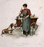 A woman is pouring milk from a churn into a large mug for the dog who is yoked to the cart which holds further milk …