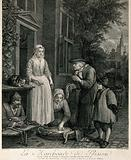 An old fish seller is selling fish on the doorstep to the servants of the house, one woman has a purse and another is …