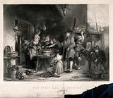 People are crowded around a table on which there is a large dish of oysters, a woman is standing nearby with a basket …