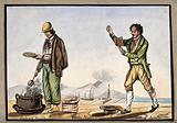 The dockside in Naples: a man is cooking snails in a pot over an open fire, while another man reads aloud from a book …