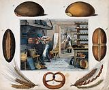 One man makes dough as another stokes the fire for the oven, there is bread on the tables and trays and baskets are …