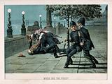 A man has been knocked to the ground and is being beaten by a man wearing a long gown and a turban, the police nearby …