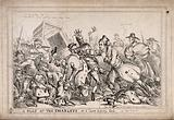 Robert Peel as a pugilist attacking night watchmen with the intention of replacing them by the police force