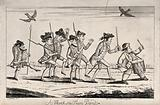 A band of militiamen in uniform marching in a disorderly manner, headed by a drummer