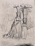 A tall woman wears short feathers in her headdress and a short woman wears tall feathers in hers