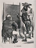 "A fat complacent Briton sits on a stool while a Zulu man writes ""Despise not your enemy"" on a blackboard"