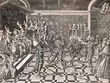 A masquerade in which King Charles VI of France and some others, dressed as wildmen in shaggy costumes, are nearly …