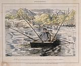 A man sits in a boat with three fishing rods as two others row him across the lake, a fish jumps in the background …