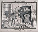 A man is knocking down the wall of a house so the a woman wearing a very large head dress can get out