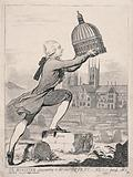 William Pitt the younger places the dome of St Paul's Cathedral over Lincoln Cathedral
