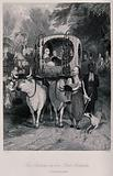 A sister of the Sultan of the Ottoman empire being conveyed in her official carriage drawn by two oxen