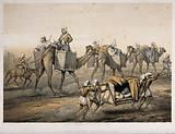 Indian Mutiny: British officers travelling in panniers on the backs of camels and in sedan chairs by Indian men