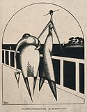 Two stylised figures, one fat, one thin, walk along a bridge