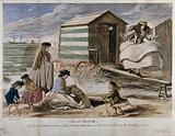 One young woman is walking on a plank near a beach hut as another reads a book and the children play in the sand