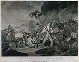 The death of Captain James Cook: a man is fighting off his attackers with the butt of a rifle, men in a boat behind …