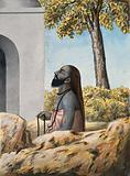 A Hindu ascetic or holy man, left profile view, meditating outside a temple (?)