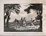 A young woman rushes to the aid of a woman fainting into the arms of servants after taking poison, with her distressed …