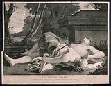 The suicides of Pyramus and Thisbe: Thisbe and Pyramus lying dead in front of Ninus' tomb, having stabbed themselves …