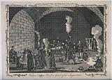The inside of a jail of the Inquisition, with a priest supervising his scribe while men and women are suspended from …