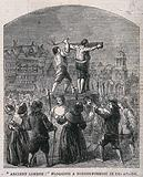 A nonconformist fastened to a stake by a ring round his neck and wrists and flogged with a rod in Cheapside