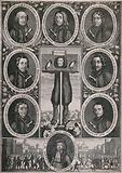 Titus Oates standing in the pillory surrounded by medaillons of people executed as a result of the Popish Plot in 1678