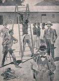 An African man is punished by Boers: he is tied by his wrists and ankles to a ladder and flogged with a cat-o'nine-tails