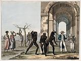 Two black men wearing loincloths flogging another man in a loincloth while a white man stands nearby smoking a pipe …