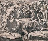 Marcus Atilius Regulus placed in a barrel lined with iron spikes with soldiers fitting more nails on the barrel and …