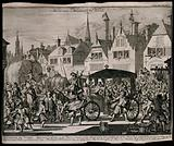 The assassination of Henry IV, King of France, 1610: a tumultuous scene on the streets of Paris, in which the King's …