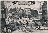 The execution of the eight surviving conspirators of the Gunpowder Plot in 1606 in London