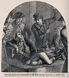 Robespierre lying on a wooden bench being interrogated by the Committee of Public Safety