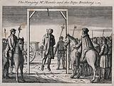 Mr Mantle is hung on a gibbet with the rope breaking under his weight while men carrying halberds are looking on