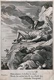 Prometheus bound to a rock, his liver eaten by an eagle and his torch dropped from his hand