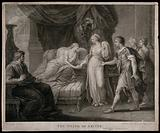 The death of Arcite: the dying Arcite lies on the bed holding the hand of a young lady, surrounded by a king, servants …