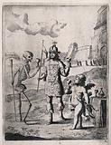 A man in armour has a drink with Death and cupid