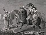 A knight astride his horse and accompanied by his lover encounters a funeral procession