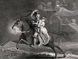 A knight and his lover astride a horse try to escape ghostly figures of Death